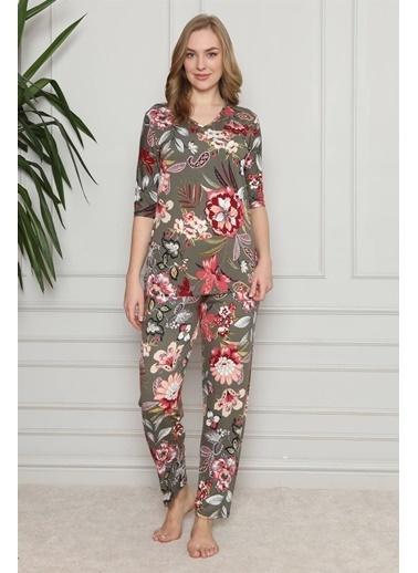 Akbeniz Kadın %100 Pamuk Penye Kısa Kol Pijama Takım 3356 Vizon